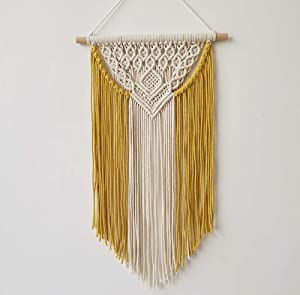 "BLUETTEK Boho Macrame Wall Hanging Decor- Beautiful Home Decorative Wall Art Macrame Tapestries for Apartment, Dorm Room Bedroom Nursery Gallery, 13.8"" W x 23.62"" H (Yellow)"