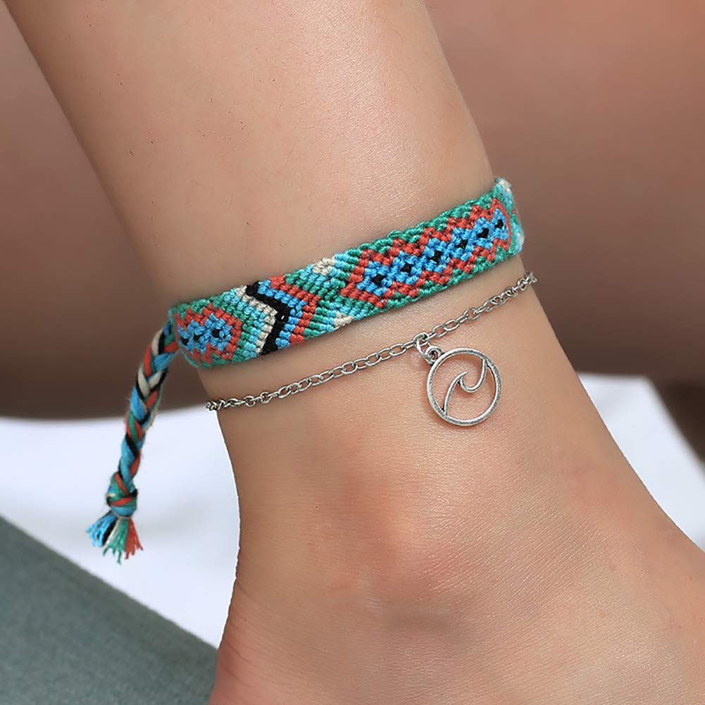 ywbtuechars 1Set Ethnic Handmade Weave Multilayer Wave Anklets Summer Beach Jewelry Foot Chains Ankle Bracelets