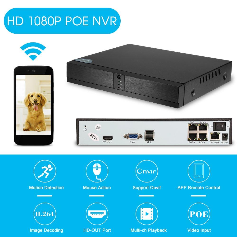 OWSOO 4CH Canales Full HD 1080P PoE NVR Grabador de Video en Red Soporte Onvif P2P Android/iOS App Detección de Movimiento para CCTV Sistema de ...