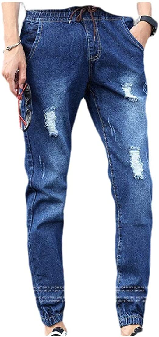Romancly Men Plus-Size With Pocket Solid Colored Harem Holes Fitted Jean Pant