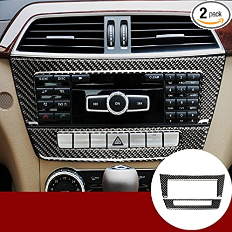 Carbon Fiber Center Console CD Panel Trim Cover 2pcs for Mercedes-Benz C  Class W204 2011-2013