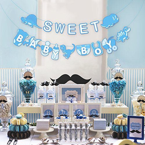 Unomor Baby Shower Banner Decoration for Baby Announcement, Birthday Party Decorations, Gender Reveal (Baby Boy Banner)]()