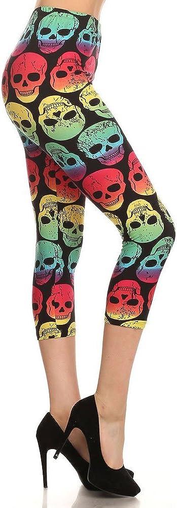Women's Regular Cropped Printed Capri Leggings - Tribal Skull Animal Aztec Camo American Flag Star Stripe