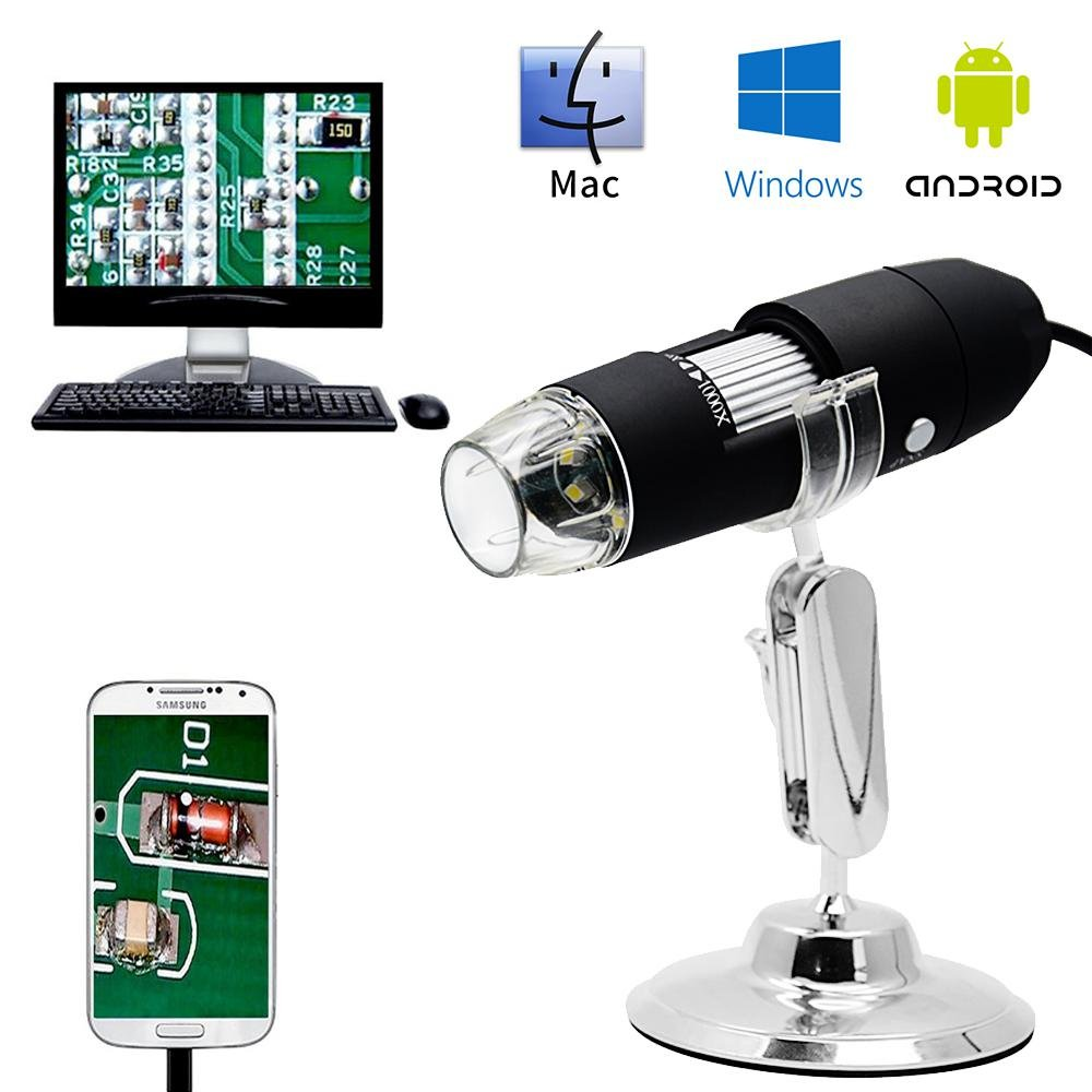Teepao 1000x USB Microscope Portable Mini Electron Microscopes For Adults, 3-In-1 Micro USB Type C Digital Magnifier Endoscope Camera Microscope Kit, First Microscope For Kids With Metal Stand