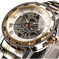 Watch,Mens Watch,Luxury Classic Skeleton Mechanical Stainless Steel Watch with Link Bracelet,Dress Automatic Wrist Hand-Wind Watch (whitegold)