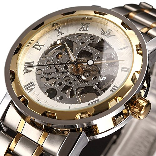 Watch,Mens Watch,Luxury Classic Skeleton Mechanical Stainless Steel Watch With Link Bracelet,Dress Automatic Wrist Hand-Wind Watch (Classic Gold Dress Watch)