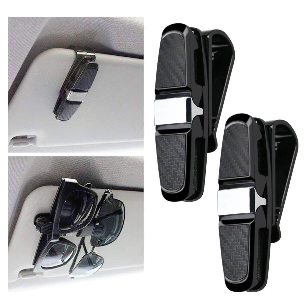 Lot de 2 Clips Voiture Accessoire Voitures avec Clip pour Lunettes de Soleil ou Cartes Noir Tencoz Porte-Lunettes pour Pare-Soleil