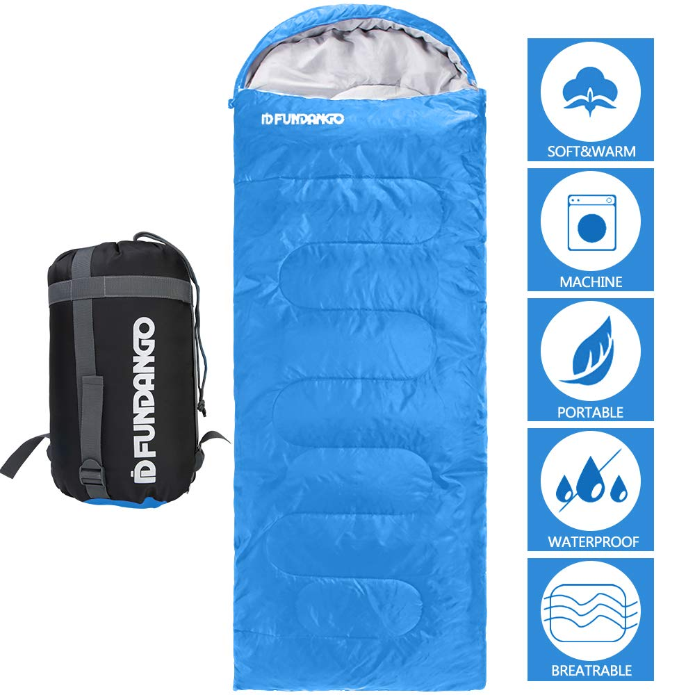 FUNDANGO Sleeping Bag Adults/Kids Lightweight Rectangular/Mummy Compact Waterproof Portable Cool Weather Season Sleeping Bags for Camping Backpacking Hiking (200GSMBlue, 220x75cm-Left) by FUNDANGO