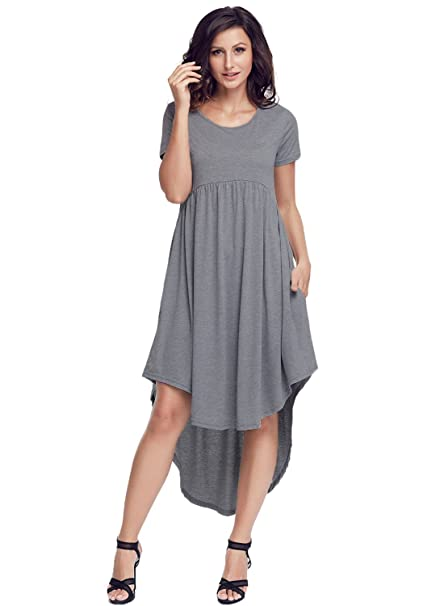 5e325e96a0c7 Women Short Sleeve High Low Pleated Swing Dress with Pocket A-Line  Asymmetrical Jersey Dress Casual Sun Dress Loose Fit at Amazon Women s  Clothing store