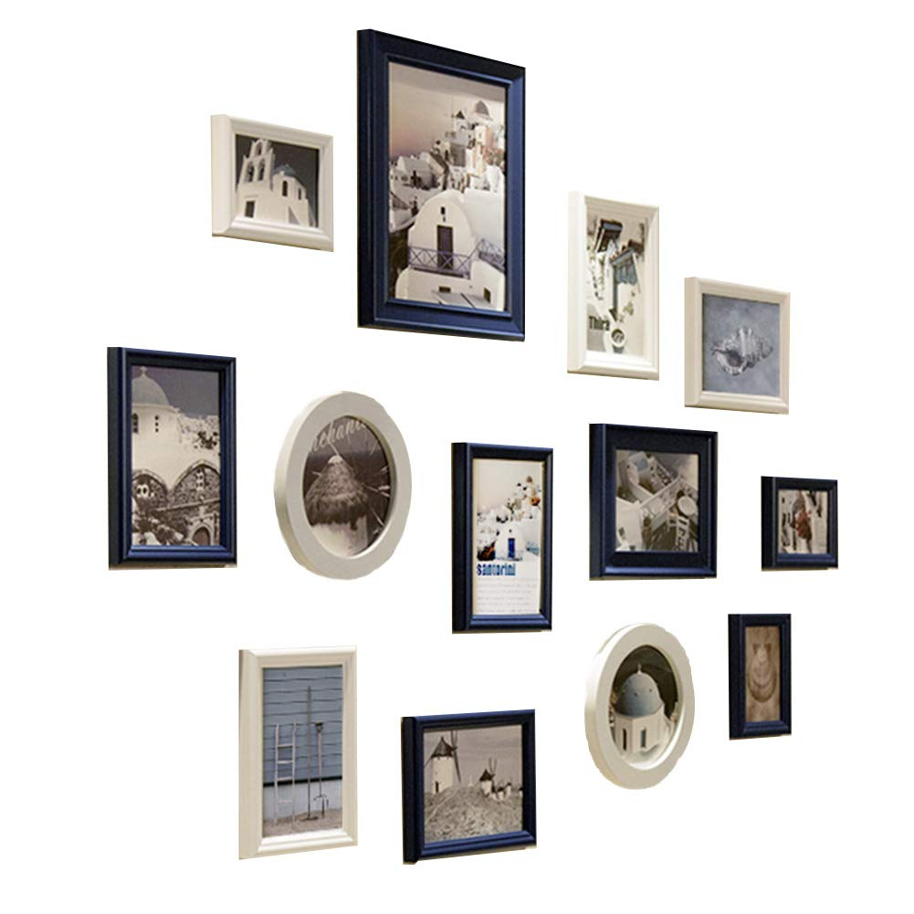 Photo frame Wall Large Black Multi Picture Set of Solid Wood Gallery Kit for and Home Sizes White Standing Wall Combination