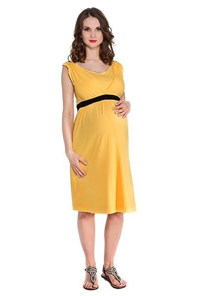 Vestido Premamá y de lactancia Kelly amarillo con cinturón negroS (small)