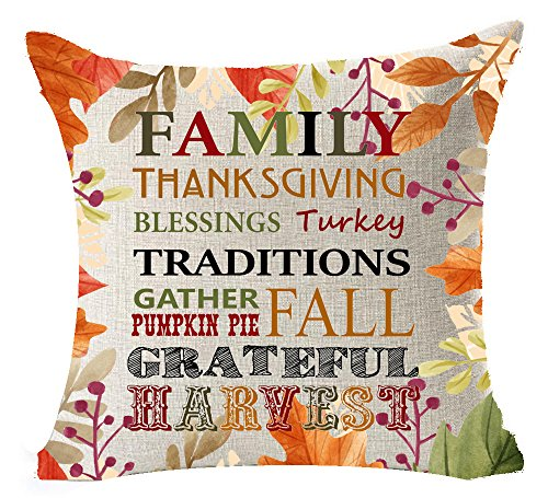 Best Autumn Gifts Pumpkin Maple Leaves Warm Sayings Family Thanksgiving Blessings Turkey Fall Grateful Harvest Cotton Linen Decorative Home Office Throw Pillow Case Cushion Cover Square 20 X 20 Inches
