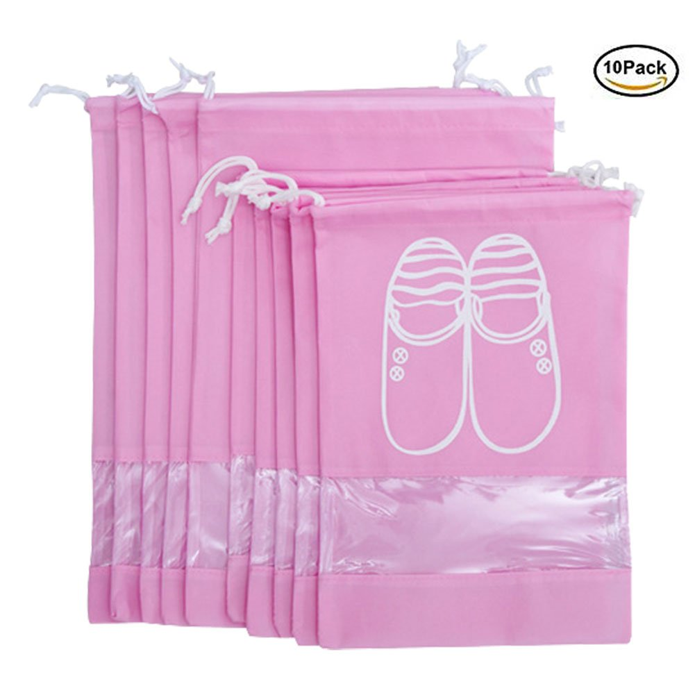 Shoe Bag Dust-proof Drawstring with Window Nylon Travel Storage Bags Pack Organizer For Men & Women 10 pack Pink