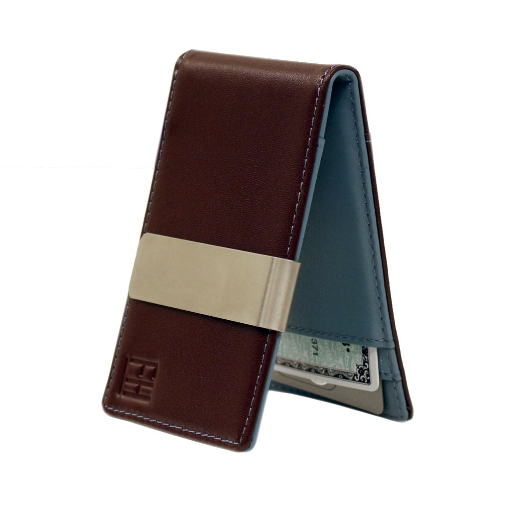 F& H Minimalist Slim Leather Wallet Money Clip Holds 8 Cards