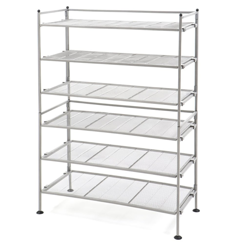 Seville Classics 3 Tier Iron Mesh Utility Shoe Rack (2 Pack), Satin Pewter by Seville Classics