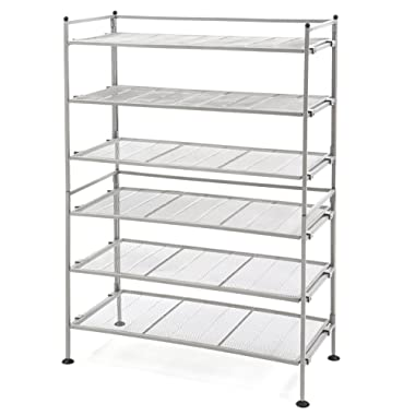 Seville Classics 3-Tier Iron Mesh Utility Shoe Rack (2-Pack), Satin Pewter