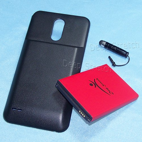 Original Extra Capacity Battery Door - [LG Stylo 3 Plus Extended Battery] 8000mAh Extended Battery + Black Cover + Folding Bracket for MetroPCS LG Stylo 3 Plus MP450 Specifically for