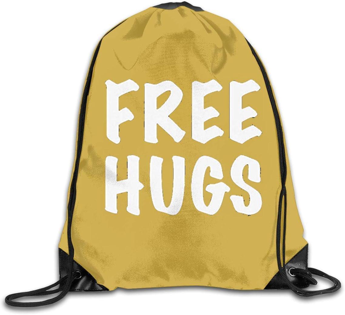 Free Hugs DSGFSQ Sac de Sport,Sac /à Cordon Drawstring Backpack Beam Mouth Sports Sackpack Shoulder Bags Men Or Women