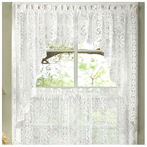 Swag Lace Valance - Hopewell Heavy White Lace Kitchen Curtain Choice of Tier Valance or Swag (swags)