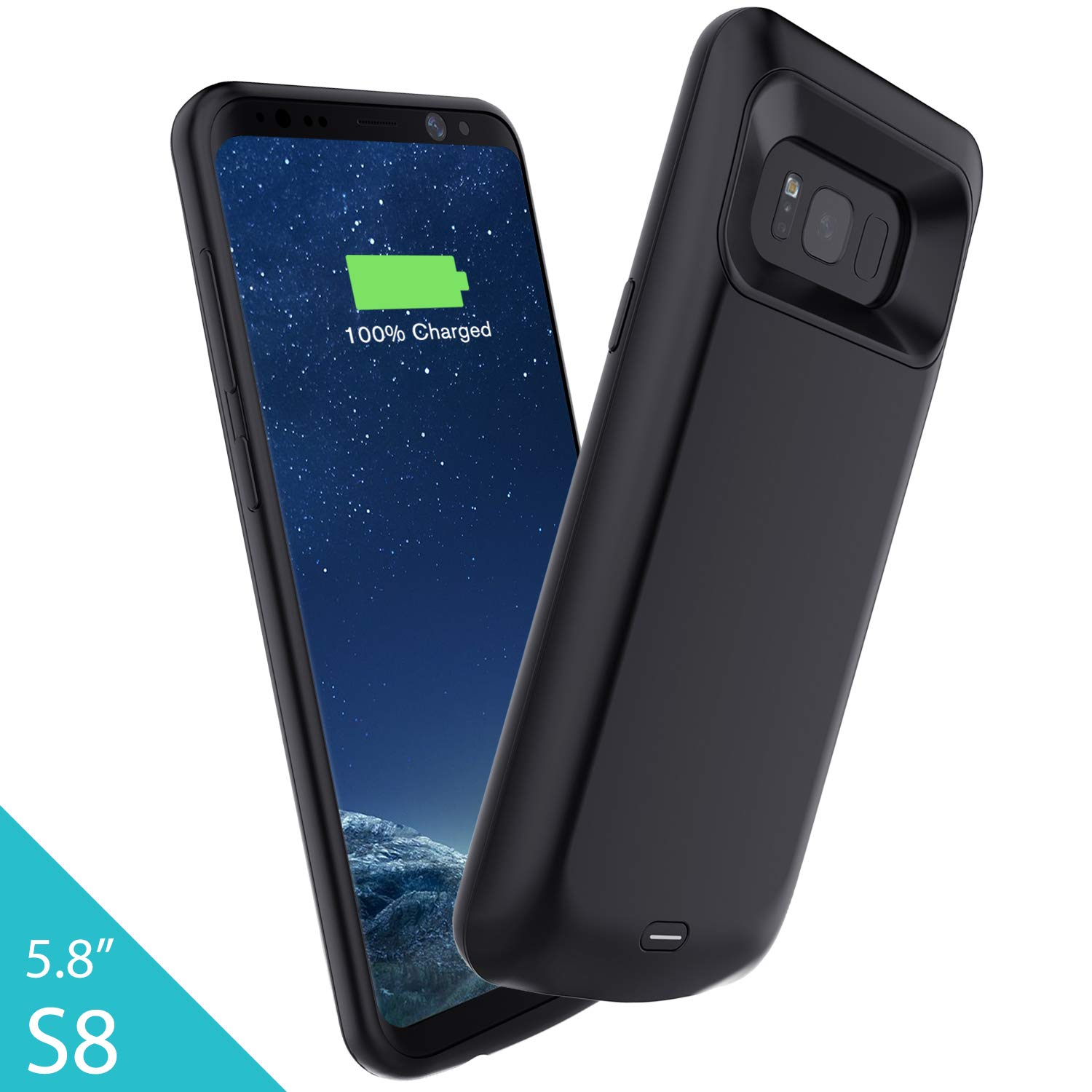 Elebase Galaxy S8 Plus Battery Case, 5500mAh Portable External Backup Charging Case, Rechargeable Impact Resistant Extended Power Charger for Samsung Galaxy S8 Plus(Not Galaxy S8)(Black)