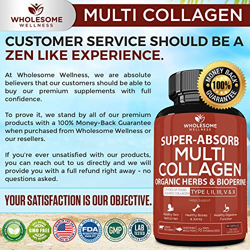 61IRstXbpfL - Super-Absorb Multi Collagen Pills (Type I II III V X) Organic Herbs and Bioperine - Anti-Aging, Hair, Skin, Nails, Joints - Hydrolyzed Collagen Peptides Protein Supplement for Women Men (90 Capsules)