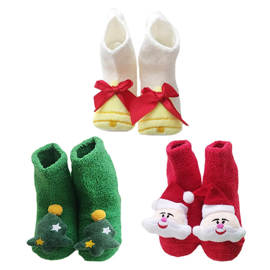 Kapmore 3 Pairs Baby Socks Plush Cute Cartoon Decor Floor Socks Winter Socks for Christmas by Kapmore