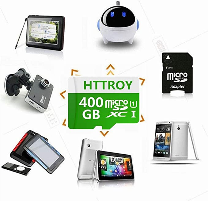 HTTROY 400GB Micro SD SDXC High Speed Class 10 Transfer Speeds Action Cameras, Phones, Tablets PCs