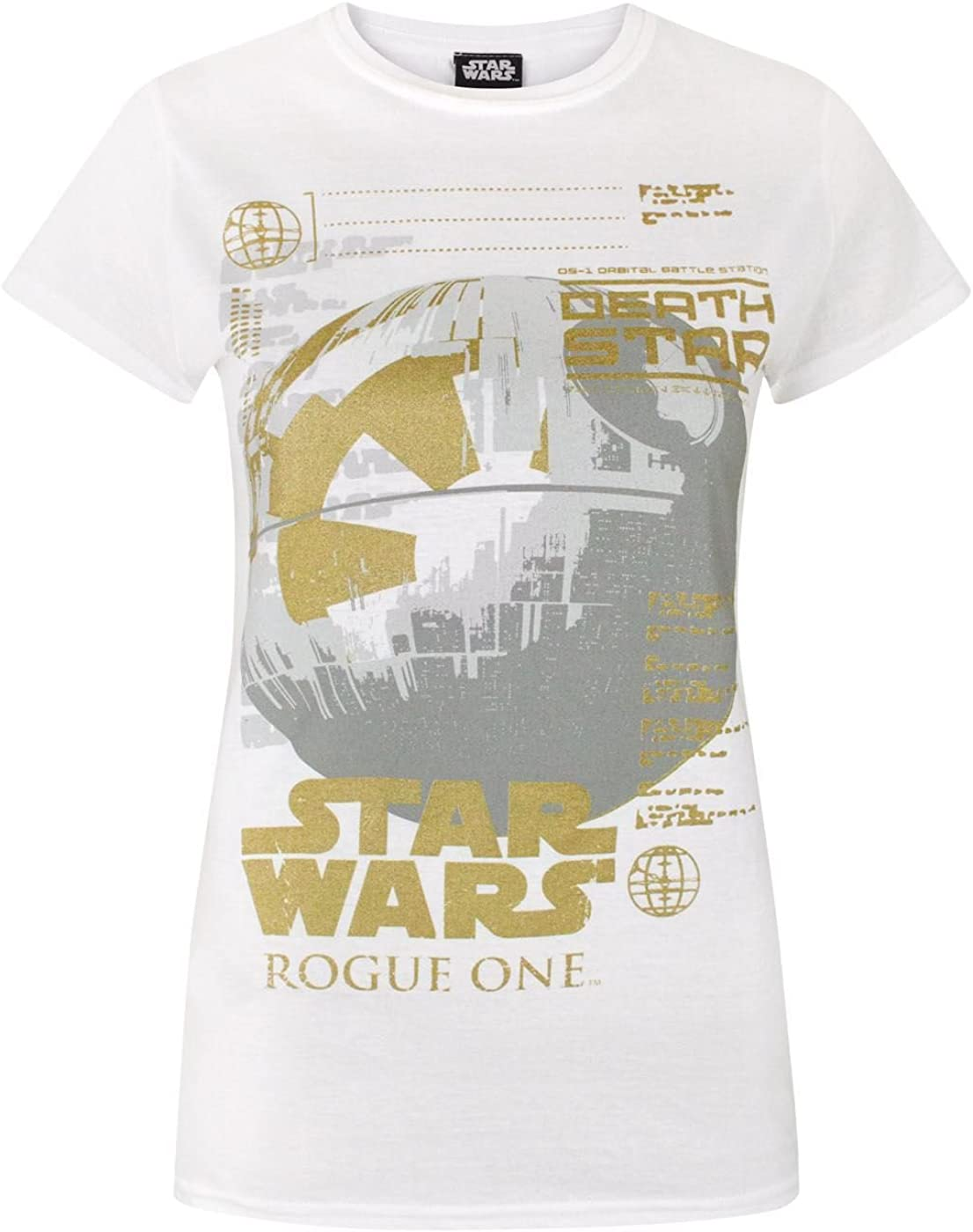 Star Wars Rogue One Metallic Death Star Womens T-Shirt