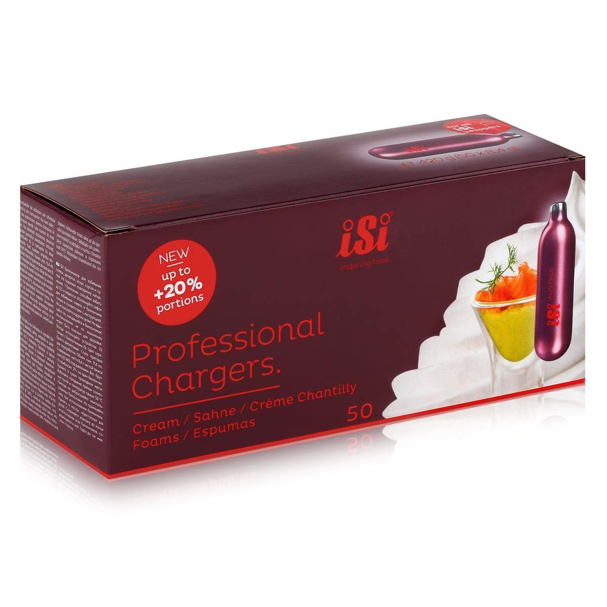 /Cream Chargers C/ápsulas de Nata 50/Unidades iSi/