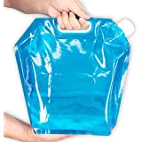iNeith Water Carrier Collapsible Water Bag 5L 10L Folding Water Containers Tank Storage for Camping Hiking Picnic BBQ Foldable Blue & Transparent