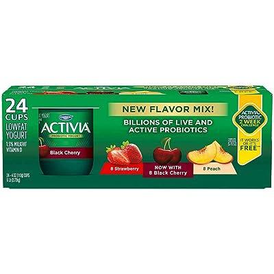 Activia Strawberry Black Cherry Peach Yogurt, 4 Ounce -- 24 per case.: Grocery & Gourmet Food
