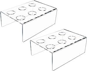 DGQ 2Packs 6 Holes Acrylic Ice Cream Cone Holder Stand Acrylic Stand Holder Ice Cream Crisp Tube Cone Holder - Transparent