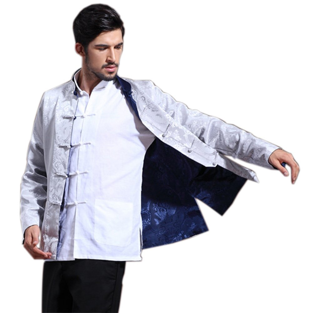 Mens Chinese Kung Fu Long Sleeve Silk Tang Jacket Double Sided Silver Blue Size XXL