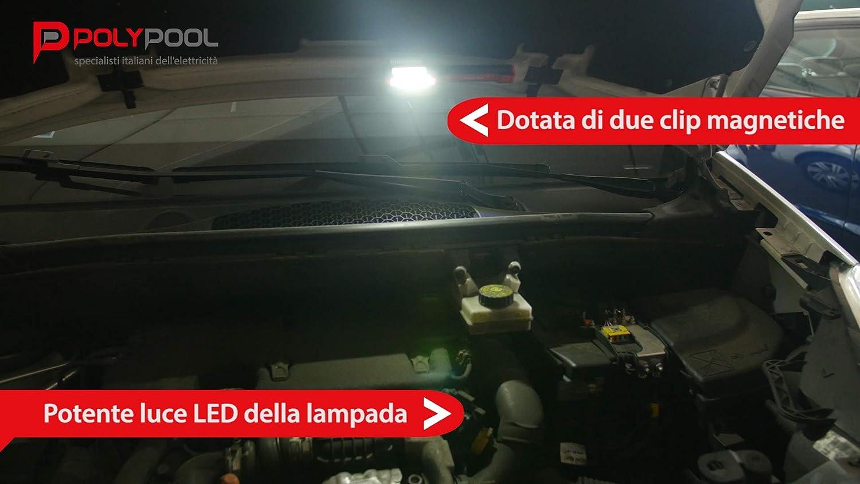 Poly Pool PP3163 Lampada ULTRA LED COB Da Lavoro Multifunzionale 3 Luminosit/à Con Torcia Superiore,Gancio Girevole A Scomparsa Supporto E Magnete A Batteria