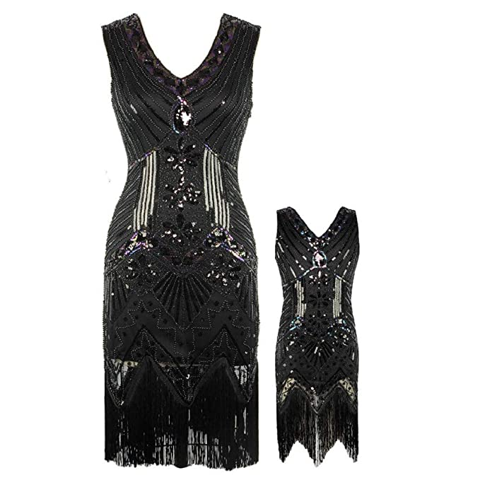 Vintage Style Children's Clothing: Girls, Boys, Baby, Toddler AMJM Mommy and me 1920s Gastby Sequin Art Nouveau Embellished Fringed Flapper Dress $34.99 AT vintagedancer.com