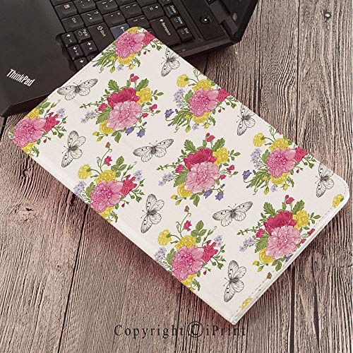 (forSamsungGalaxyTabS3 9.7 T820 T825 Tablet Smart Cover Protective,Shabby Chic Decor,Peonies Roses Sweet Peas Bell Colorful Bouquet Butterflies Botany Garden,Multicolor)