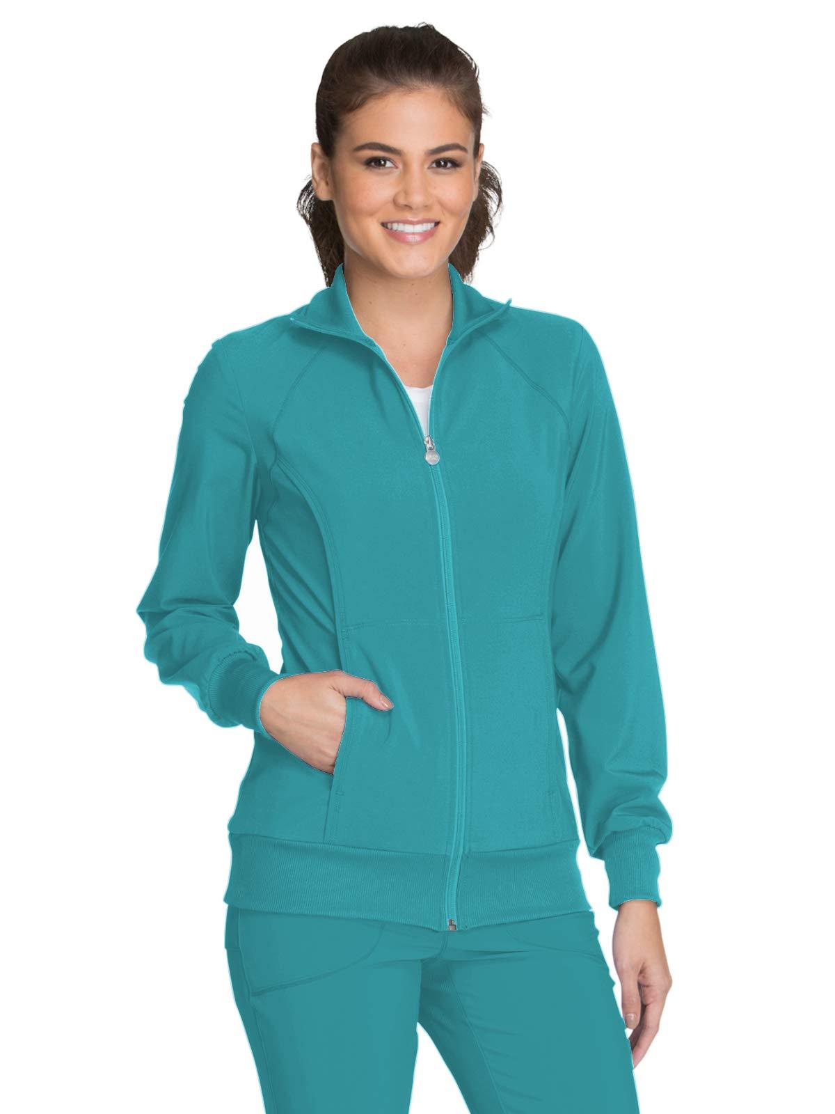 Cherokee Women's Infinity Zip Front Warm-up Jacket, Teal Blue, XX-Large by Cherokee