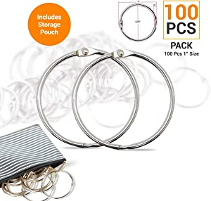 HomLujo Multipurpose Book Binder Rings, Metal Iron Nickel Plated Loose Leaf Rings. 1 inch Ring Size, Used as Books Ring, Binders Ring, Index Cards and Craft Rings. Storage Pouch Included.