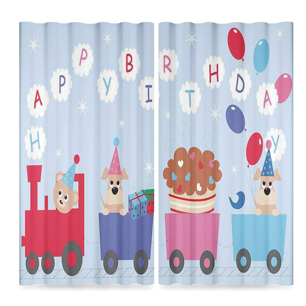 C COABALLA Birthday Decorations for Kids Door Curtain,Baby Bear Dog in Train Balloons Clouds on Light Blue Backdrop,for Living Room, 2 Panel Set, 28W X 39L Inches