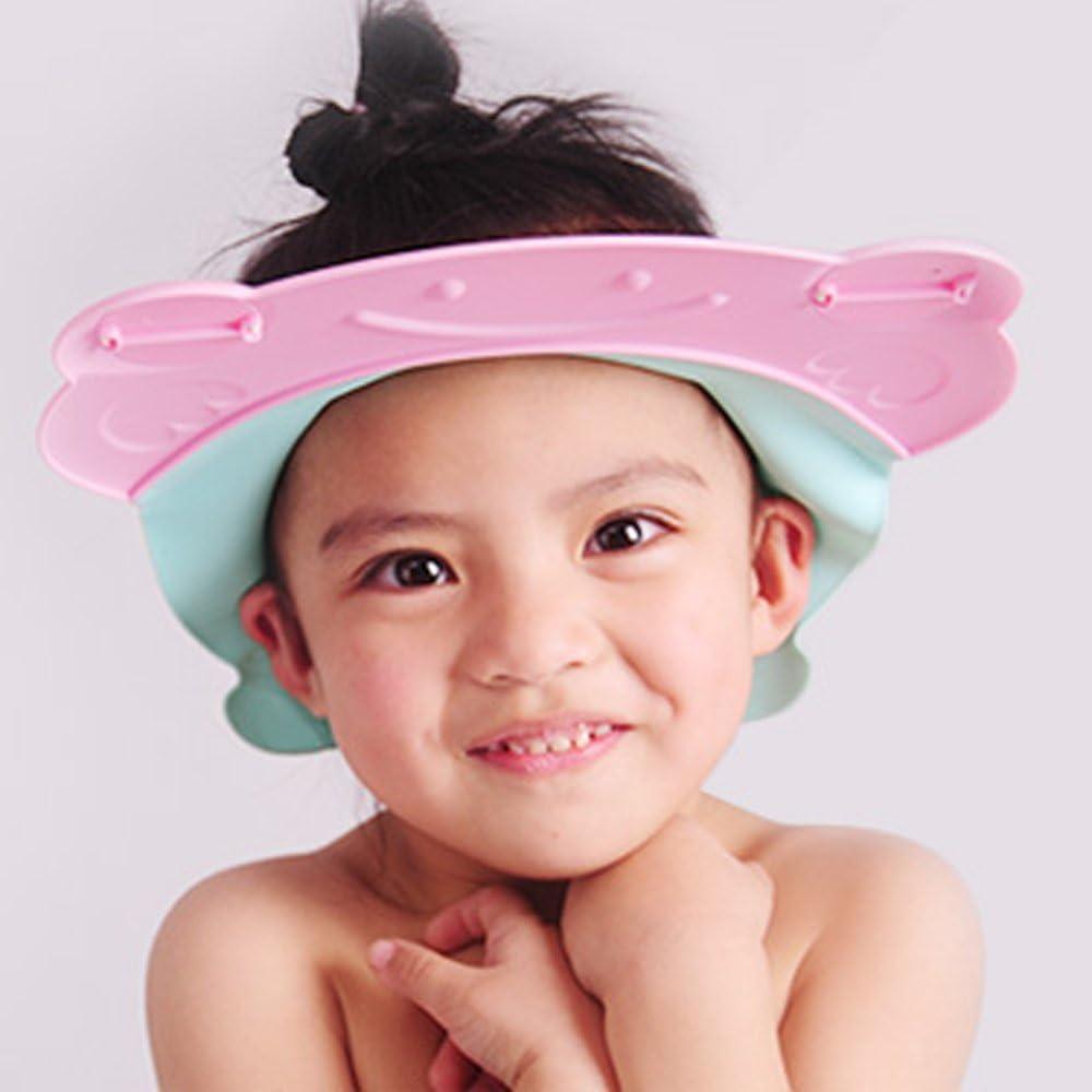 Sicuro per Occhi e Orecchie Contatto Senza Acqua Cappello Balneazione per Bambini Cappello da Lavaggio e Doccia TAMUME Regolabile Silicone Cappello Shampoo per Bambino Rosa Sicurezza in Bagno