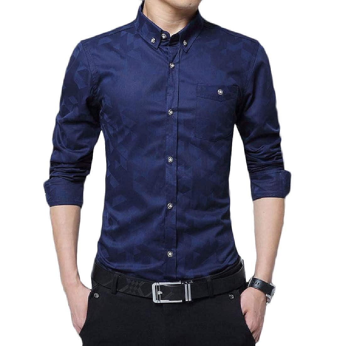 Highisa Men Business Long Sleeves Casual Button Down Dress Shirts