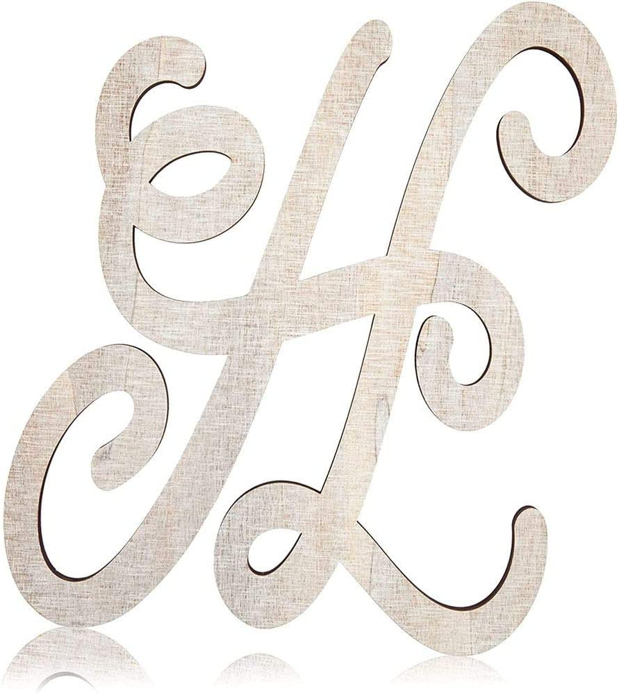 Wooden Monogram Alphabet Letters, Letter H for Crafts, Rustic Wall Decor (13 in)