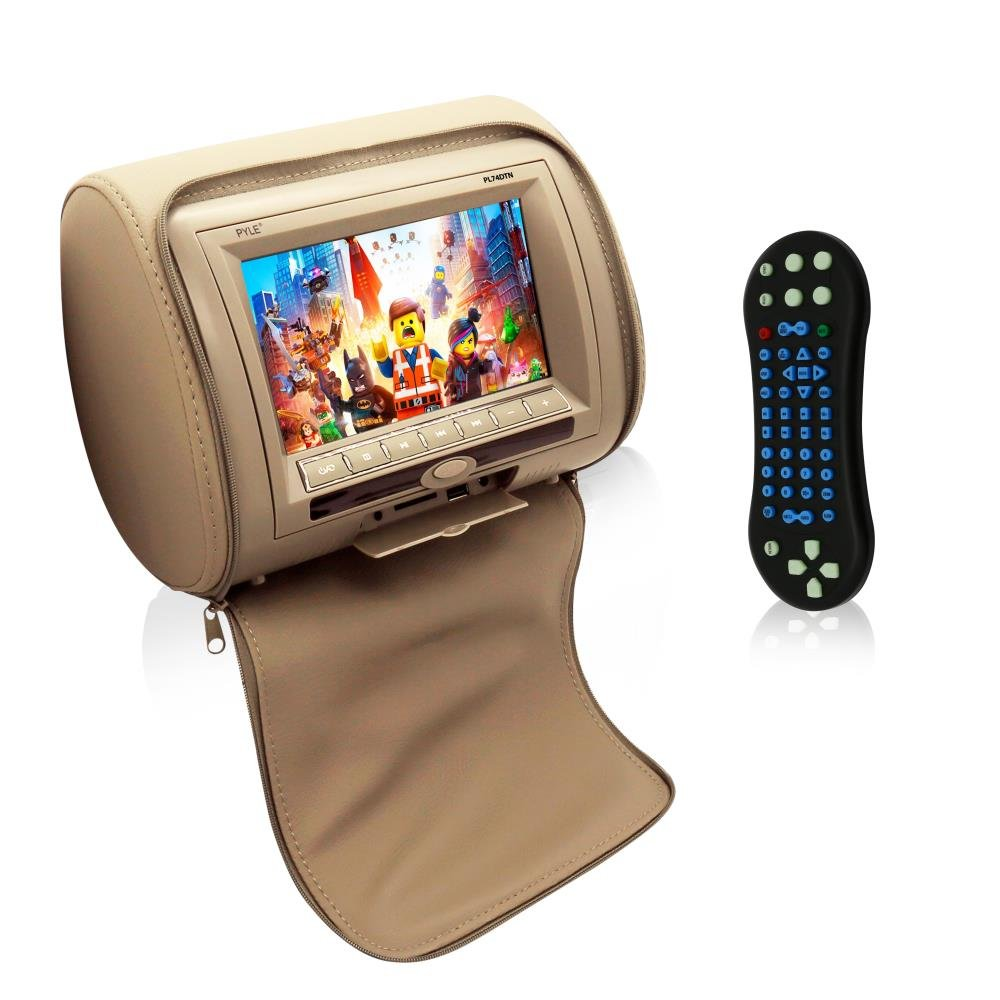 Pyle  HD Quality Car Headrest DVD Player Monitor Display 7 inch Widescreen, Remote Control , USB / SD Reader, FM IR Transmitter for Car Mini Van Travel Entertainment PL74DTN (TAN) by Pyle