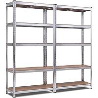 COSTWAY 5-Laags stellingkasten 2 stuks, 180 x 90 x 40cm, 875 KG gewichtscapaciteit, opbergrek, zware werk opslag rek, in…