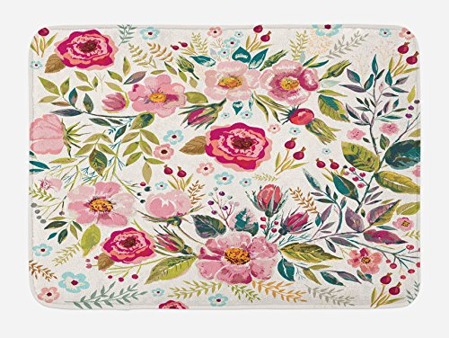 Floral  Rug, Shabby Chic  Small Rug - 29.5 W X 17.5 W Inches, Multicolor