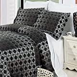 Geometric Black Grey Boys Mens Reversible Bedding Duvet Cover Set Full/Queen