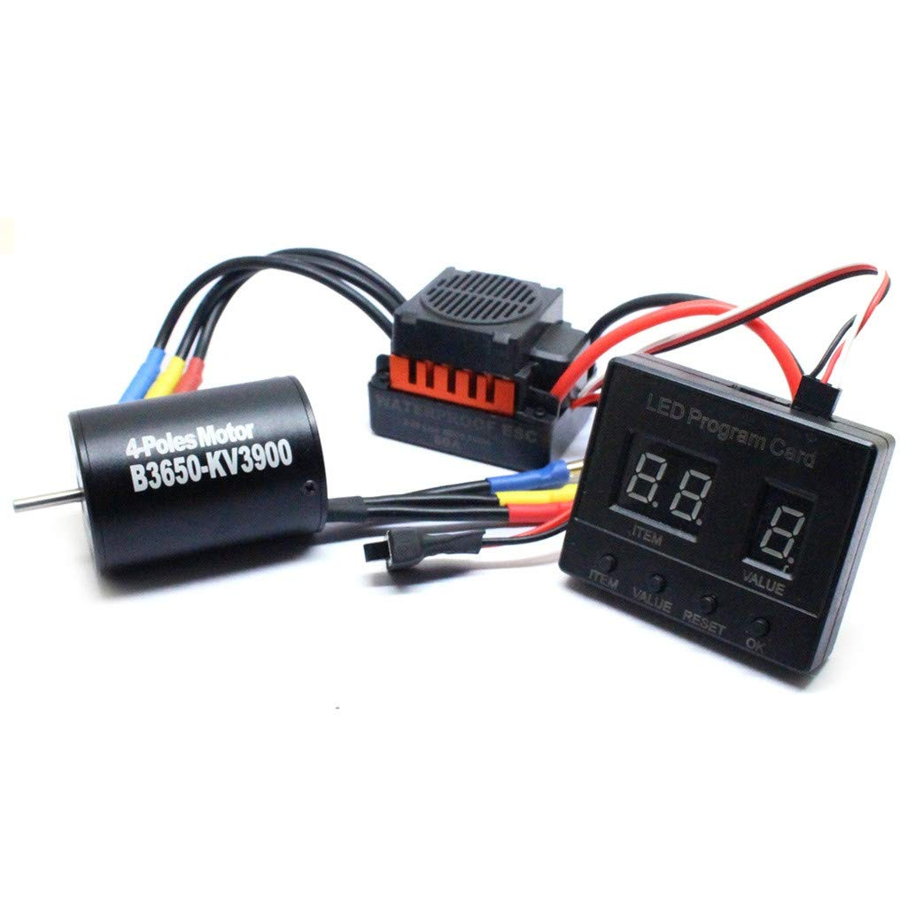 Libison Brushless Motor, New Waterproof 60A ESC and Special LED Programming Card 3 Piece Set For 1/10 RC Car Truck Fit RC Car 60A ESC Fit 1/10 RC Car Black