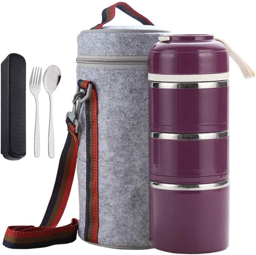 Cute Bento Stackable Lunch Box with Flatware Set Stainless Steel Lunch Containers Leakproof Food Container Insulated Lunch Bag for Adults Women Men Kids (Purple, 3-Tier)