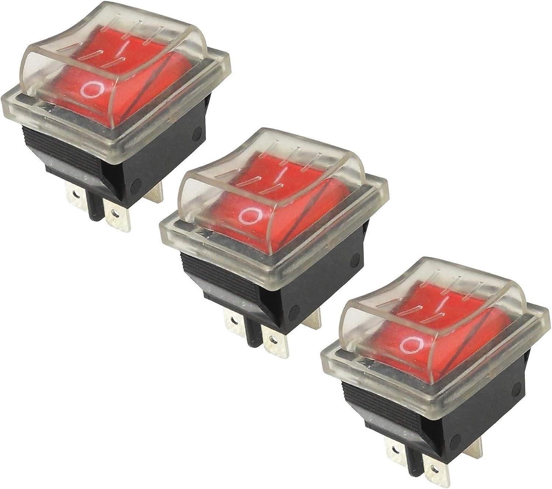 Wittkoware 3er Pack Kontroll Wippenschalter 30x22mm 2 Polig Ein Aus 15a 250v Rot Schutzkappe Baumarkt