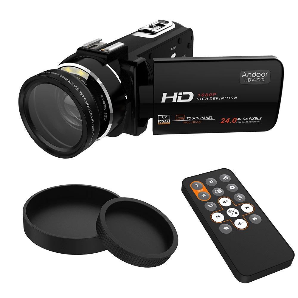 Andoer HDV-Z20 Portable caméra de vidéo 1080p Full HD Digital avec 37mm 0, 45 x grand Angle lentille Max 24 Mega Pixels 16 × Zoom numérique caméscope 3.0 rotatif LCD écran tactile